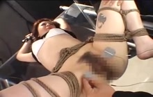 Tied Japanese girl in trouble