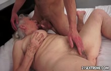 Dirty man fucking blonde granny