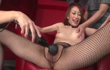 Bunny gets her hairy pussy toyed