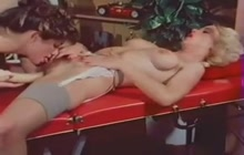 Vintage lesbians have fun after massage