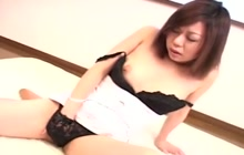 Horny girl with hairy vagina masturbates